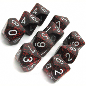 Red & Black 'Silver Volcano' Speckled D10 Ten Sided Dice Set